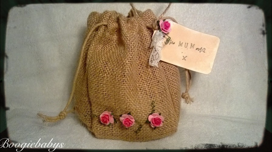 Hessian Jute Gift Bag with Flower